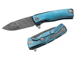 LionSteel ROK Damascus Blue