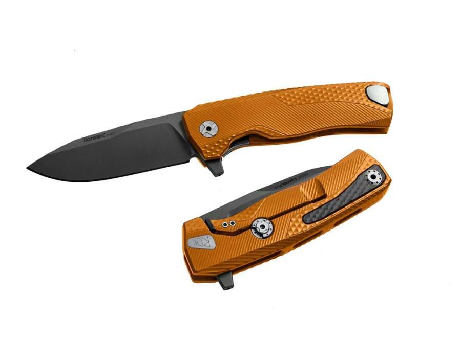 LionSteel ROK Aluminum Orange Black blade